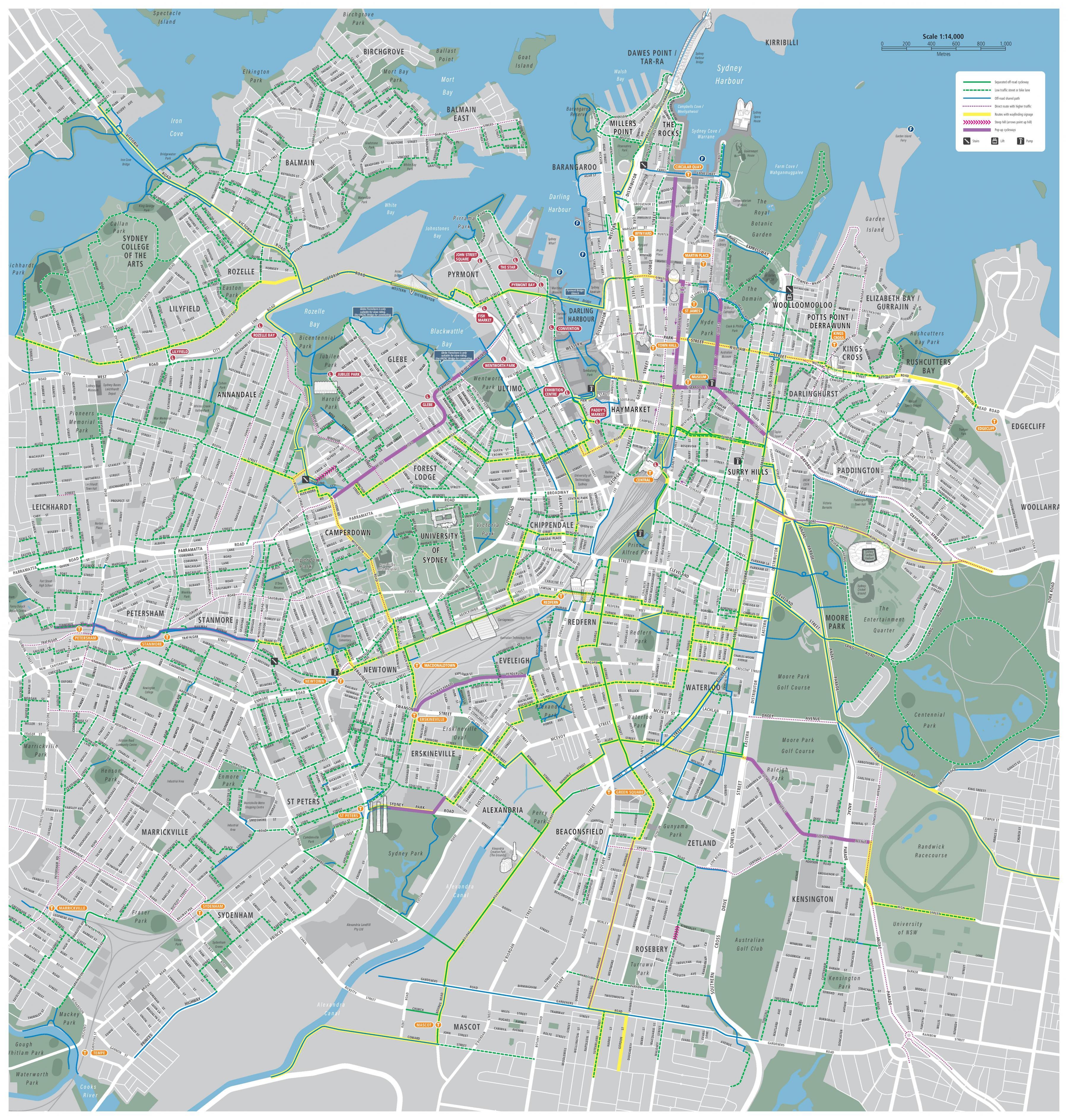 sydney térkép Sydney ciklus térkép   Kerékpáros térkép sydney (Ausztrália)
