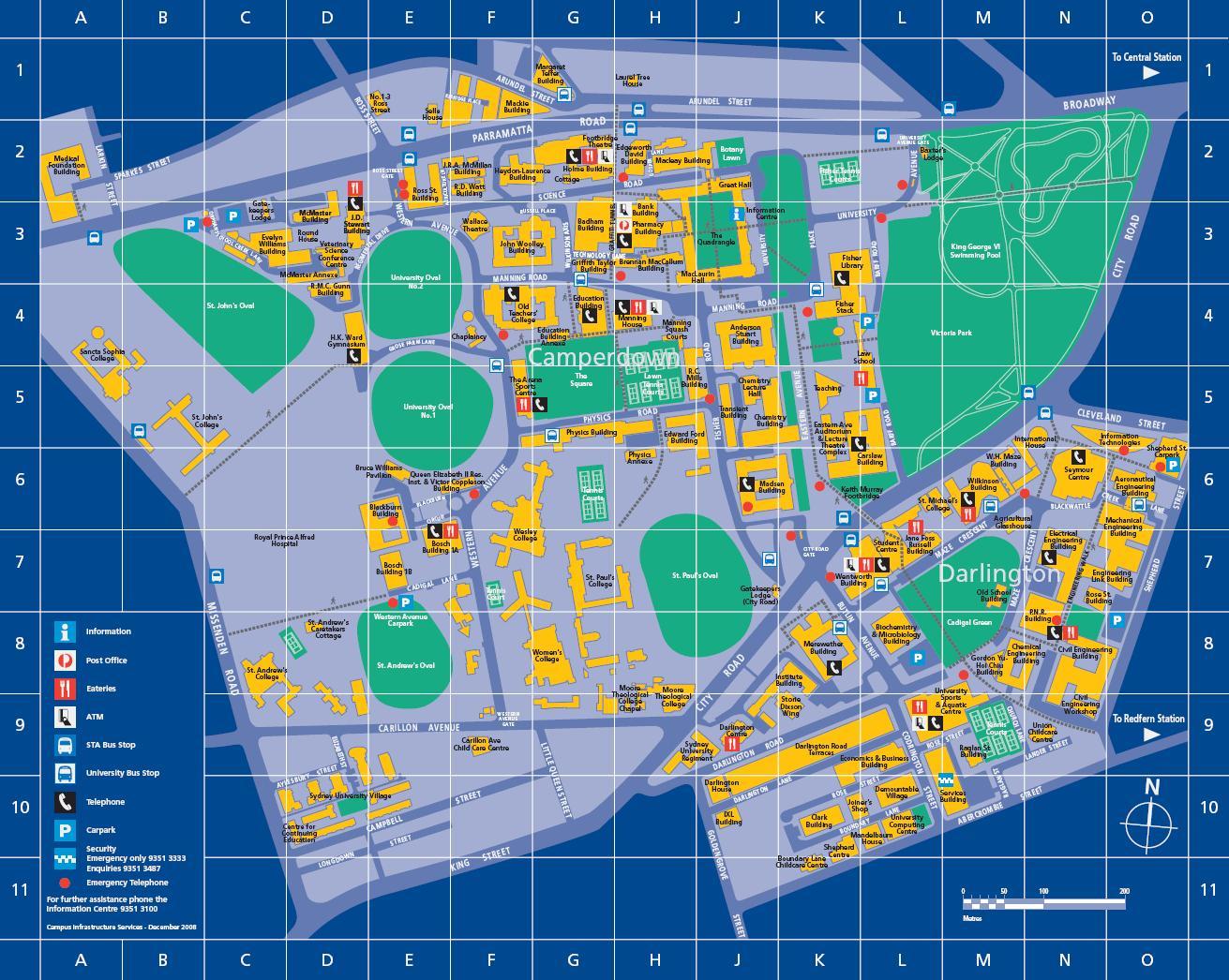 sydney térkép Sydney uni térkép   University of sydney térkép (Ausztrália)